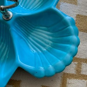 Vintage Dining - Vintage Turquoise Shell Bowl CA Pottery Large MCM